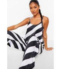 candy cane gestreepte satijnen pyjama set met hemdje en broek, black