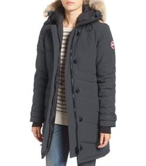 women's canada goose lorette hooded down parka with genuine coyote fur trim, size x-large (16-18) - grey