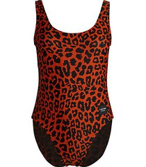 leopard-print one-piece swimsuit