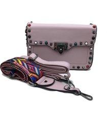 bolsa transversal la borsa lilás alça colorida