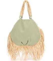 0711 ani fringed tote bag - green