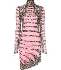 maisie wilen turtleneck wave print mini dress - black