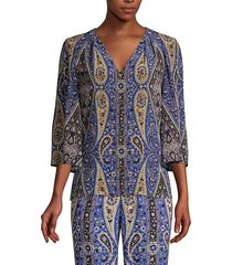 kobi halperin women's jeneva printed silk blouse - azure multicolor - size xxl