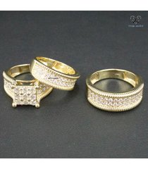 1.85 ct diamond 14k gold plated 925 silver engagement ring wedding band trio set