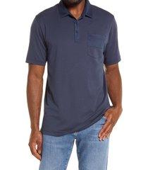 travismathew swan ronson slim fit polo shirt, size small in mood indigo at nordstrom