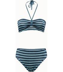 roberto collina bikini fascia in lycra lurex a righe