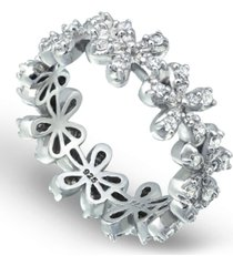 cubic zirconia flower band ring in fine silver plate