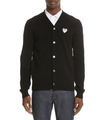 men's comme des garcons play white heart wool cardigan, size large - black