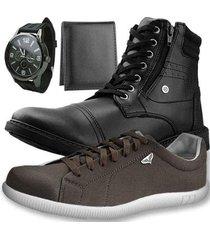 kit bota dhl casual masculino + sapatênis + relógio + carteira slim - masculino