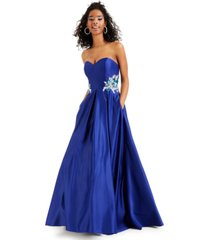 blondie nites juniors' strapless embellished gown, created for macy's