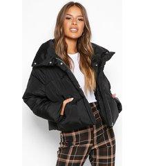petite cropped front pocket padded jacket, black