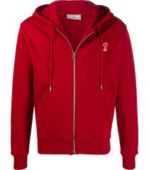 ami cotton zip-up hoodie - red