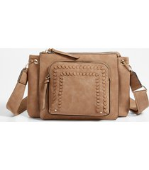 maurices womens whipstitch pocket crossbody bag brown