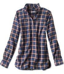 crushed herringbone popover shirt, navy/rose plaid, x large