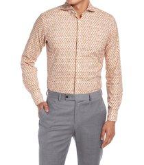 men's eton men's slim fit cocktail print dress shirt, size 15 - orange