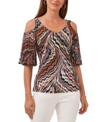 vince camuto cold-shoulder pleated-sleeve top