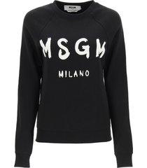 msgm brushed logo print sweatshirt