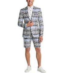paisley & gray slim fit suit separates coat blue ikat