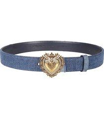 dolce & gabbana logo patched denim belt