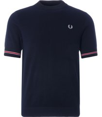 fred perry tipped cuff knitted t-shirt | navy | k1530-608