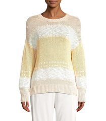 peserico women's knit tricolor sweater - sand ivory - size 48 (12)