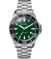 shinola the monster automatic bracelet watch, 43mm in silver/green/black at nordstrom