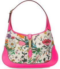 gucci jackie medium flora hobo bag - pink