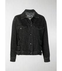 mcq swallow leopard print denim jacket