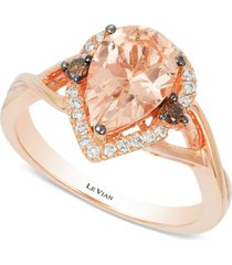 le vian chocolatier peach morganite (1-1/3 ct. t.w.) and diamond (1/5 ct. t.w.) ring in 14k rose gold, created for macy's