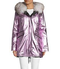 belleville reversible metallic & fox fur jacket