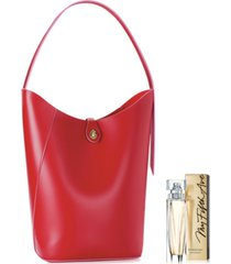 receive a free red tote bag and my fifth avenue edt with any $56 elizabeth arden fragrance purchase