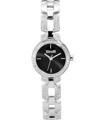 orologio solo tempo con cinturino e cassa in acciaio e strass, quadrante nero per donna