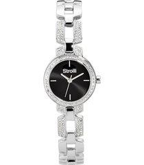 versailles - orologio da polso solo tempo con cassa e cinturino in acciaio e strass e quadrante nero per donna
