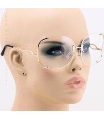 semi-rimless oversized square cut clear lens new fashion retro women sunglasses