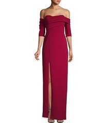 draped asymmetric column gown