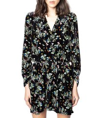 zadig & voltaire reveal floral long sleeve velvet dress, size x-small in noir at nordstrom