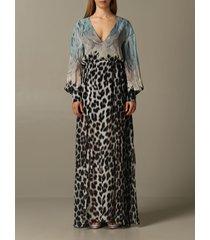 just cavalli dress long just cavalli dress in printed chiffon
