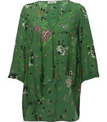 tide silk uma tunique col v asymetrique blus långärmad grön zadig & voltaire