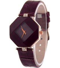 reloj mujer analogico cristal geometrico cuero pu 224 purpura