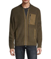 john varvatos star u.s.a. men's metairie faux fur fleece jacket - green - size l