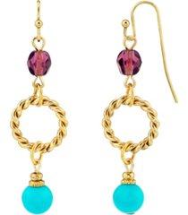 2028 14k gold dipped drop hoop bead wire earring