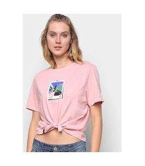 camiseta cantão babylook recorte manga curta feminina