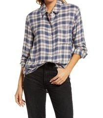 women's treasure & bond plaid boyfriend shirt, size medium - blue