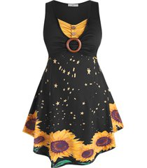 o-ring ruched sunflower plus size sleeveless dress