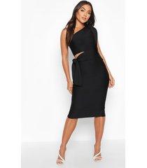 boutique bandage midi jurk met blote schouder, uitsnijding en strik, black