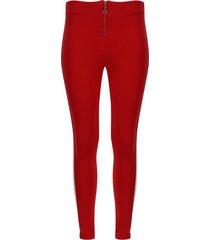 leggings franja en costado con cremallera color rojo, talla 16