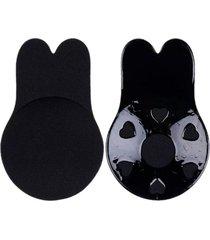sutian soutien sutiã levanta seio adesivo reutilizável sem alça orelha de coelho preto