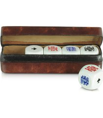 forzieri designer small leather goods, poker dice with leather carrying case