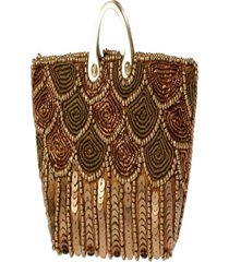 clutch  – pashmina- bordado-  dourado - kanui