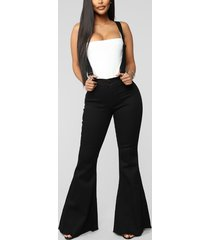 demim adjustable shoulder straps high-waisted wide leg legging